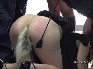 Sub with butt plug tail in public | buttplugpublic