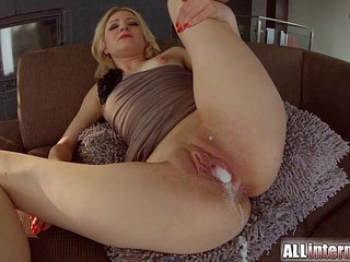 All Internal Threesome with double creampie for blonde newbie | 3someblondecreampiedouble