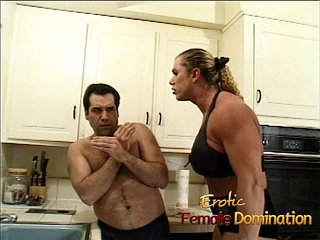 Angry dominatrix with big muscles hurts her husband really bad   husband