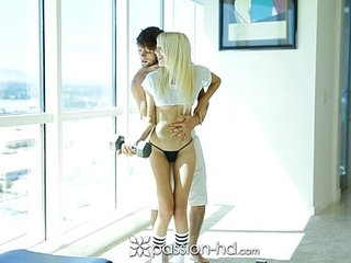 Passion HD Sierra Nevadah gives her man a hand with his workout   fetishhigh definitionworkout