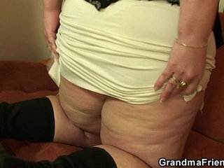 Plump mature bitch takes two young cocks   bitchcockplumpyoung