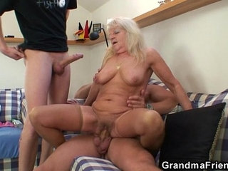 Hot 3some party with blonde grandma | 3someblondegrandmaparty